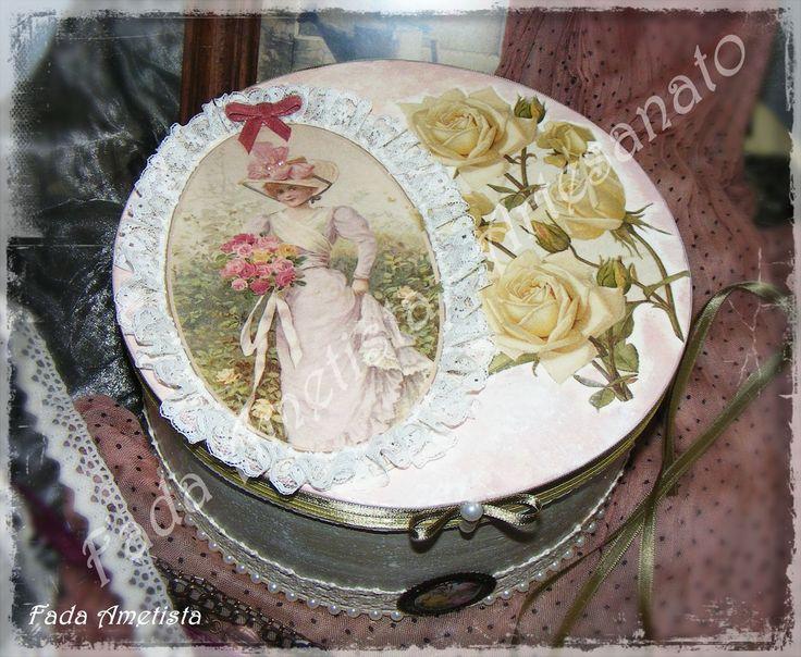 Caixa em Balsa ● Decoupage ● Vintage ● Romantic