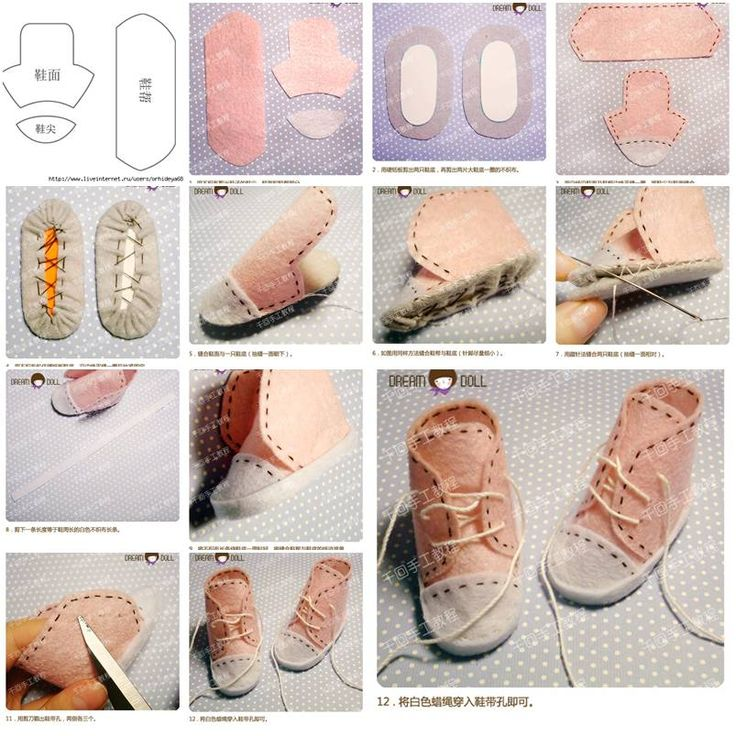 How to make Little Doll Shoes step by step DIY tutorial