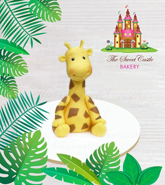 Boy or Girl Fondant Giraffe Cake Topper by TheSweetCastleBakery