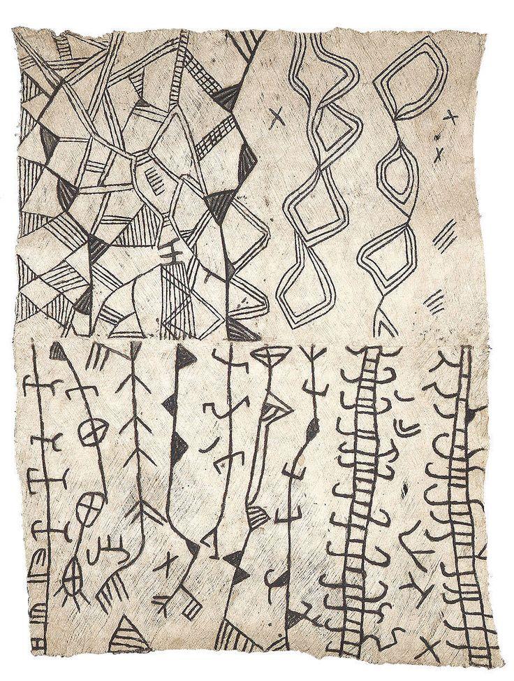 """si-on-a agi-inconsidérément: """"tissu d'écorce peinte, région de l'Ituri Rainforest, Congo, c. 1950 """""""