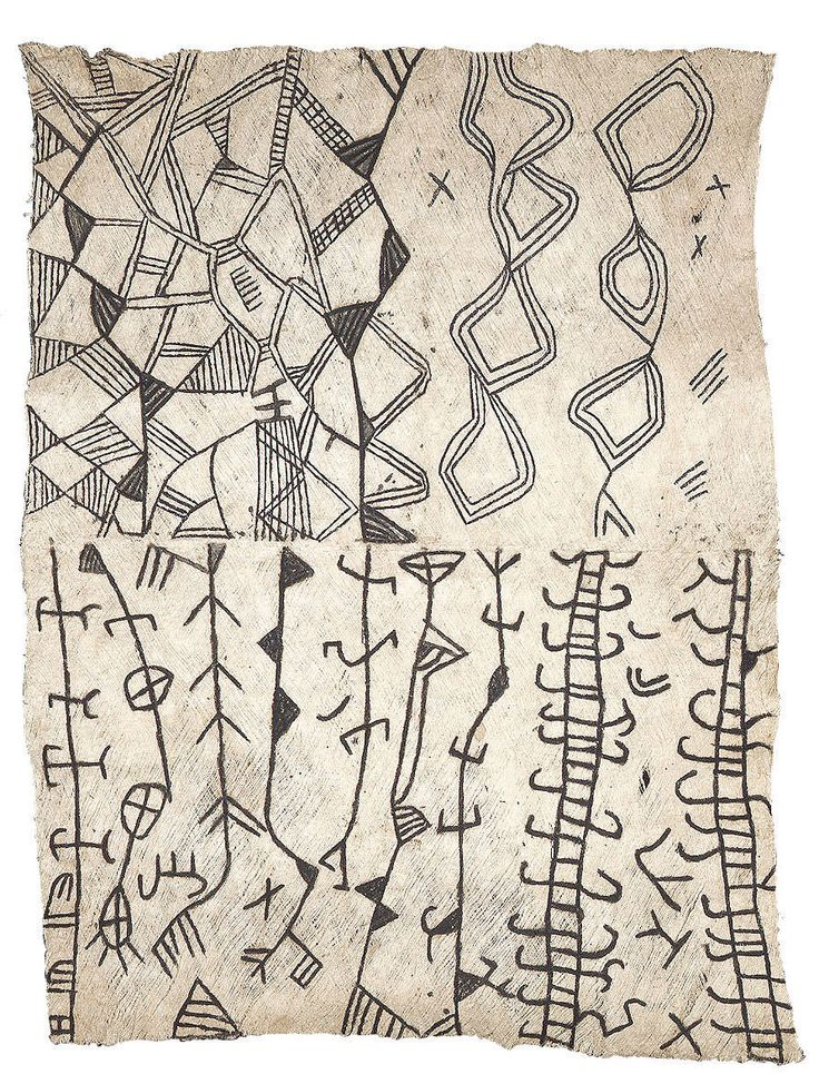 Africa |  Bark cloth.  Painted bark cloth.   Ituri pygmy. | Congo.  c.1950;  interesting for pattern in imitative ivory