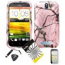 4 items Combo: ITUFFY LCD Screen Protector Film + Mini Stylus Pen + Case Opener + Silver Pink Pine Tree Leaves Camouflage Outdoor Wildlife Design Rubberized Snap on Hard Shell Cover Faceplate Skin Phone Case for HTC One SV (Cricket Phone Carrier only)