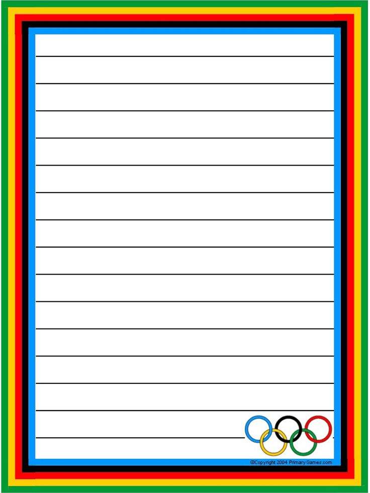 Olympic Stationery - PrimaryGames.com - Free Printable Worksheets