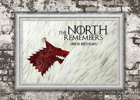 Juego de tronos el norte recuerda tarjeta por SHEWOLFDesignStudio