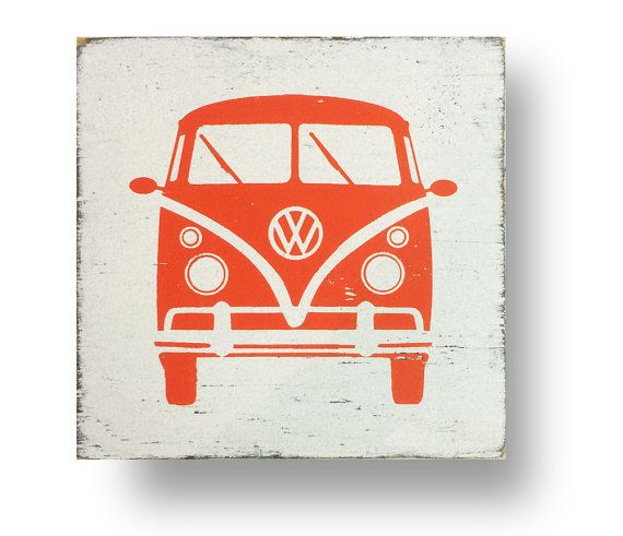 The Iconic VW Volkswagen Bus Rustic Sign by GoJumpInTheLake
