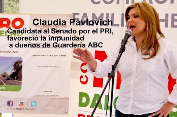 Claudia Pavlovich, candidata del PRI de Sonora al Senado, favoreció la impunidad en caso Guardería ABC