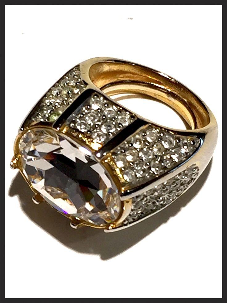 Vintage Kenneth Jay Lane Rhinestone Cocktail Ring