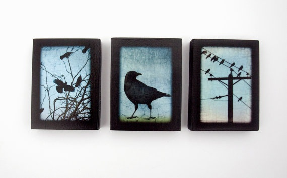 Trio of Crow Images on Miniature 3x4in Magnetic by junehunter, $55.00