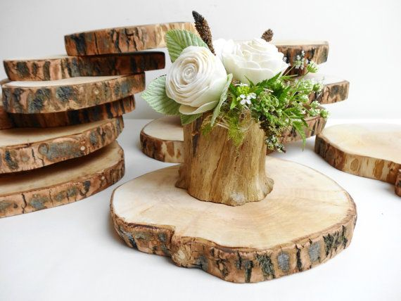 Rustic Wood Slices are cut of reclaimed willow tree trunk, partly has a bark on, some of them might have cracking, no finish added.Every slice was