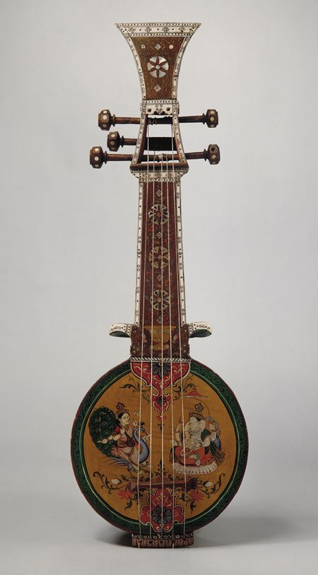 INSTRUMENTS FOR JOY - RESEARCH DDO:) MOST POPULAR RE-PINS - http://www.pinterest.com/DianaDeeOsborne/instruments-for-joy/ - Oriental guitar or lyre  type instrument: Sursanga lute, 19th C, made from Indian wood, pearl & ivory.  Sursanga is one of many Indian lute instruments popular in 19th century. India art features lutes in Ragamala paintings. Richly decorated musical instruments such as this sursanga were often given as gifts & used for display or wall decorations rather than playing…