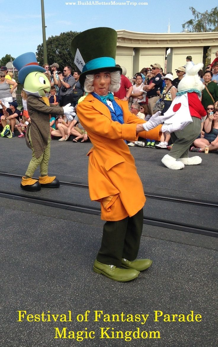 The Mad Hatter, White Rabbit, and Jiminy Cricket in the Festival of Fantasy Parade in the Magic Kingdom at #Disney World. For Disney World ride closures, crowd warnings, and special event information, see: http://www.buildabettermousetrip.com/monthly-newsletters.php #Disneyworld #MagicKingdom #FestivalofFantasy #WDW #JiminyCricket