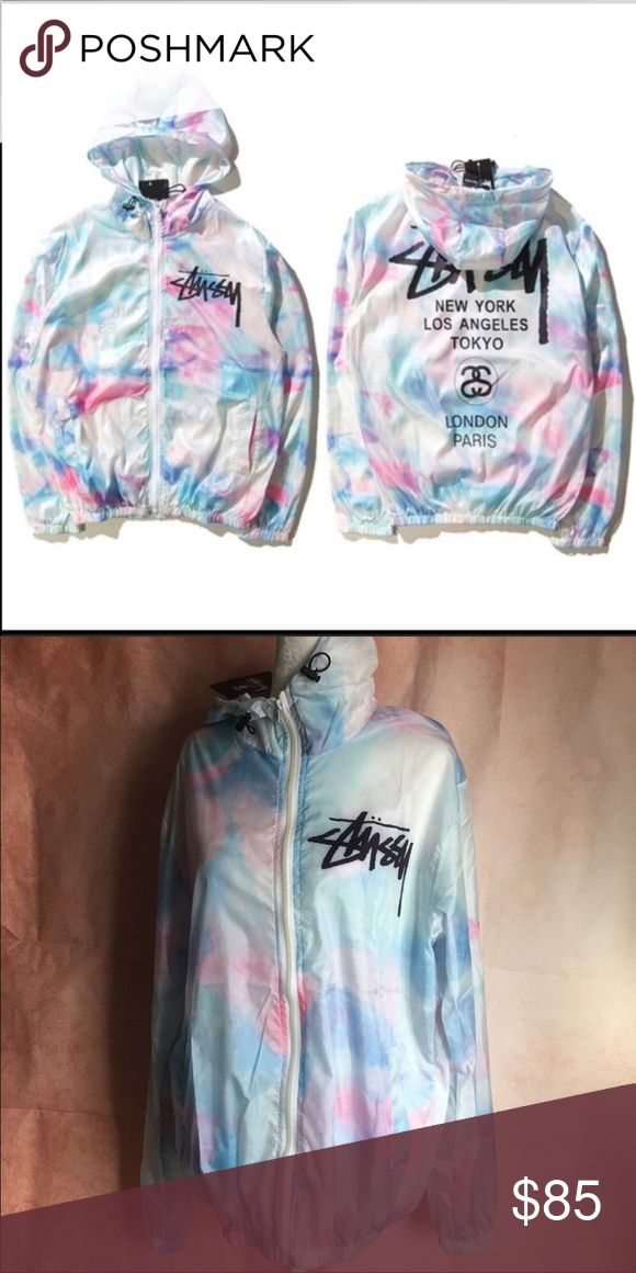 NWT Stussy Tie Dye Cotton Candy Windbreaker Jacket Only medium and large in stock! Men order 2 sizes up, women order 1 size up NWT, restock will take up to 8 days.  Such a dope jacket, don't forget to order up a size or two. Stussy Jackets & Coats