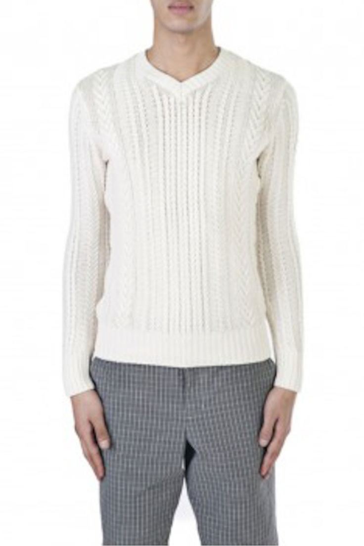 Vince Cable Knit V-Neck Sweater In White - Beyond the Rack