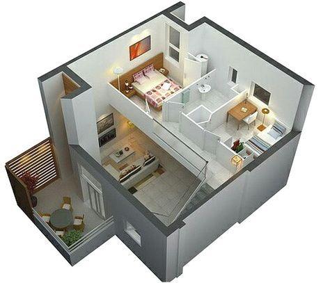 denah rumah sederhana 2 lantai 2 kamar tidur 3d | design