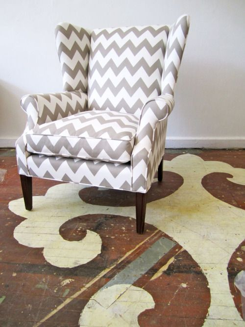 Reupholstered chair with Caitlin Wilson fabric (Greige Zabeel Chevron)