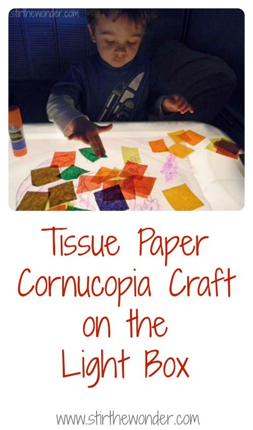 Tissue Paper Cornucopia on the Light Box