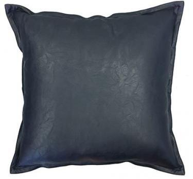 Boston Navy Leather Look Cushion