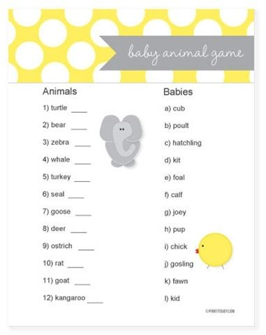 Love this baby shower game! Baby Animal Game - race to match the adult animals with their baby names - 1st player to finish gets a prize