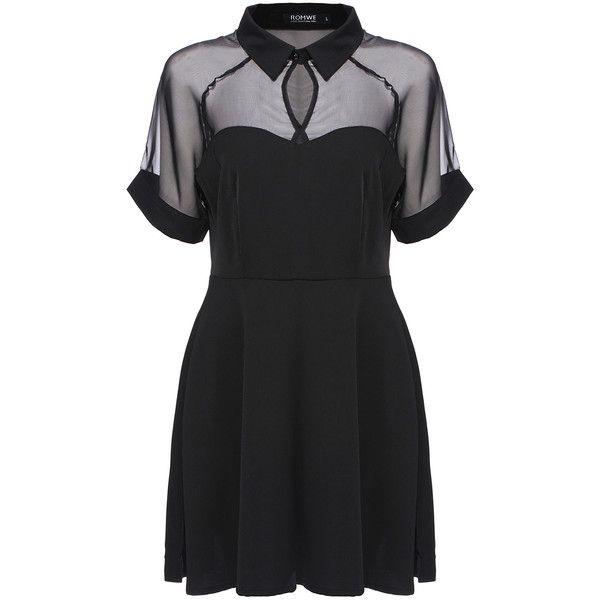 ROMWE Mesh Peak Collar Little Black Skater Dress ($14) ❤ liked on Polyvore featuring dresses, vestidos, black, black dresses, black dress, black skater dress, short sleeve shift dress, party dresses and short dresses