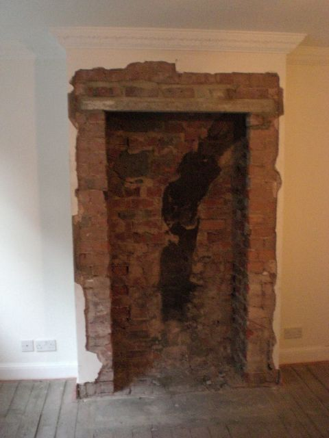 Chimney breast opened up in Sheffield and a lintel installed to allow for cooker to placed in the gap