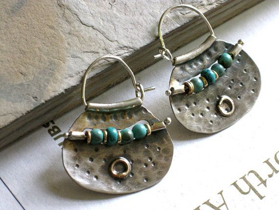 Silver Hoops and Turquoise beads - handcrafted sterling silver and gold earrings