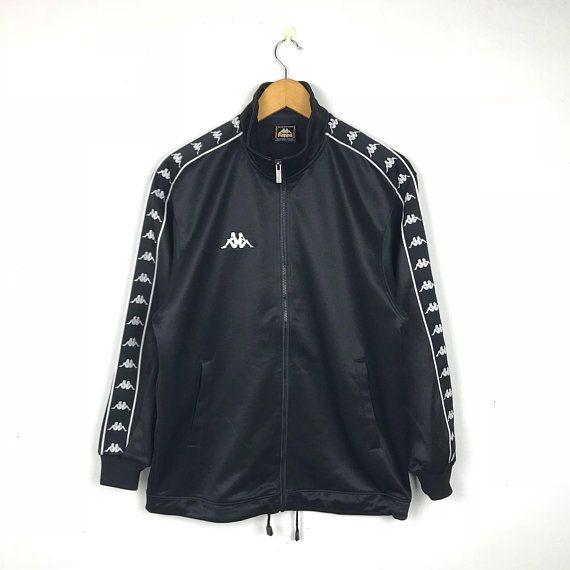 1754b45e342d KAPPA Vintage 90s Side Tape Ribbon Logo Black Silver Training Jacket Vintage  Windbreaker Size Medium