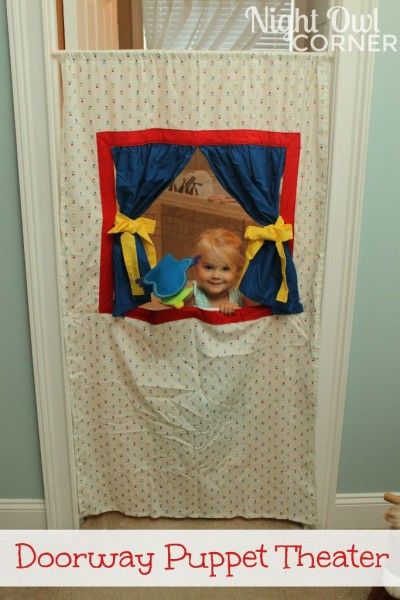 DIY Doorway Puppet Theatre for Kids - presume you need a telescopic shower curtain pole and curtain