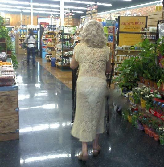 Grandma Clothes - See Through Knits and White Panties ---- funny pictures hilarious jokes meme humor walmart fails