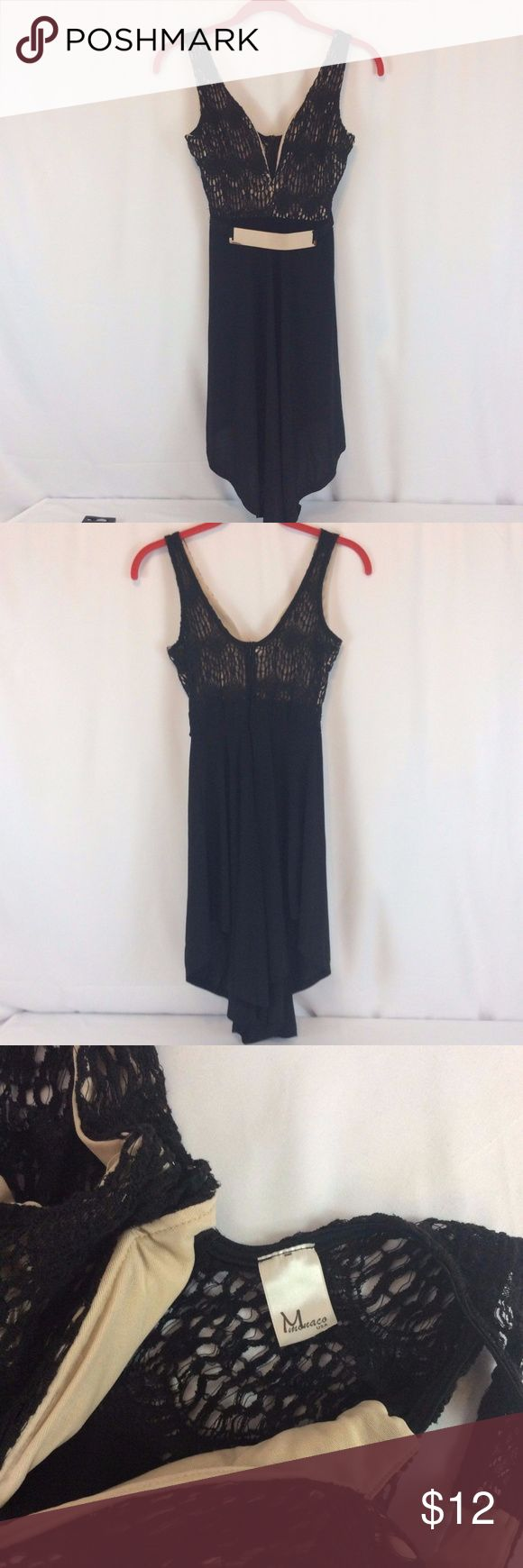 Monaco Tank Top Size Small Sleeveless Black Monaco Womens Tank Top Size Small Sleeveless Black Lace With Gold Metal Belt.  Belt has minor scratches.  Very cute shirt.  Perfect for Holiday parties. monaco Tops Tank Tops
