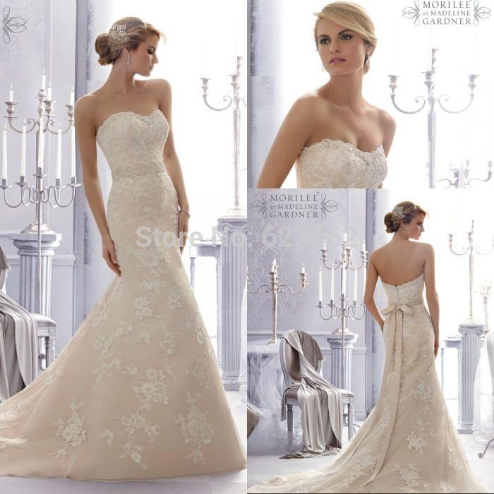 Большие скидки русалка милая свадебные платья развертки поезд шампанское из органзы аппликации свадебные платья