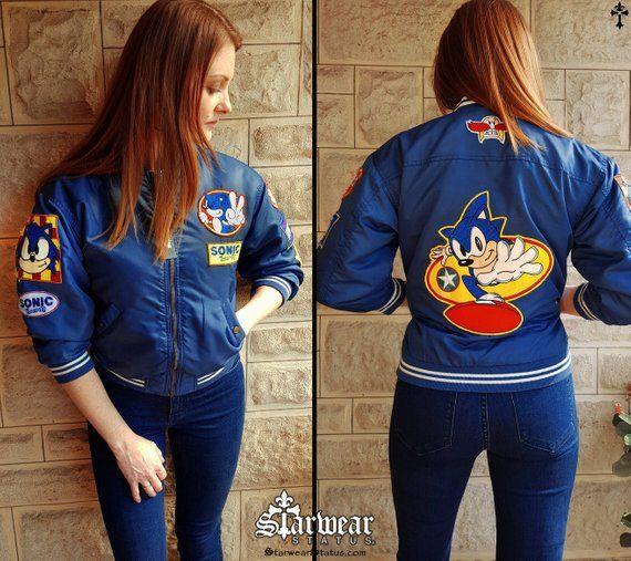 Authentic Sega Sonic The Hedgehog Vintage Mega Drive Console Sports Coat Varsity Blue Red Cartoon Bomber Jacket Size Small Jackets Varsity Jacket Bomber Jacket