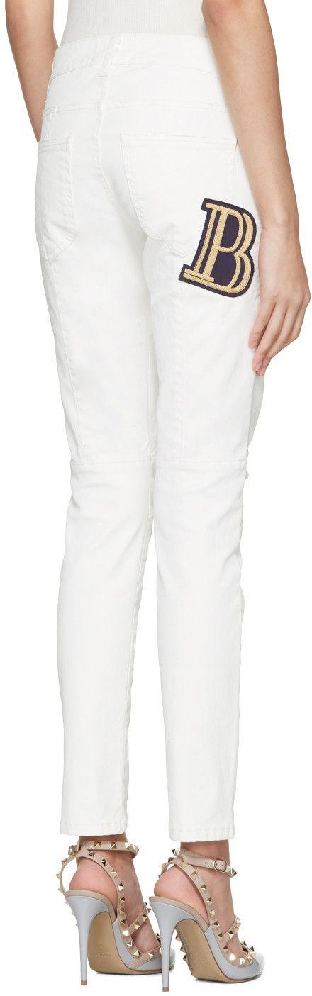 Pierre Balmain - White Biker Skinny Jeans