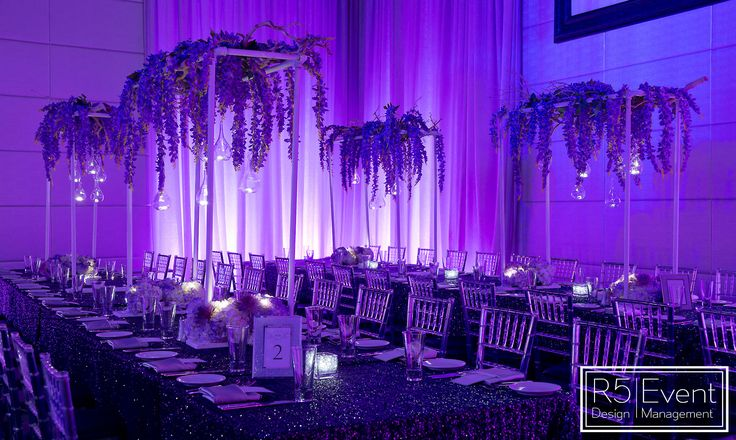 Beautiful guest table decor with cascading florals, candles and votives by R5 Event Design