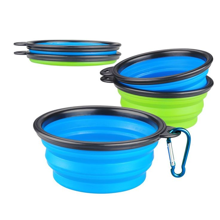 Accmor Collapsible Dog Bowls with Carabiner, 2 Pack Portable Cat Dog Food and Water Bowls, Personalized Dog Bowls for Journeys, Hiking, Kennels, Camping , *** See this awesome image  - Cat items