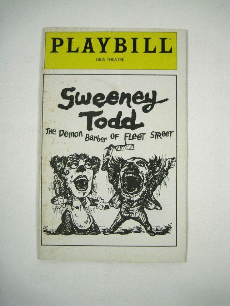 Sweeney Todd September 1979 Uris Theatre Angela Lansbury Len Cariou