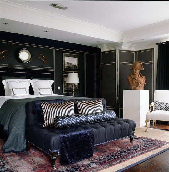 One more Mary McDonald space.  A very masculine room (though I'd subtract the pipes hanging above the bed)