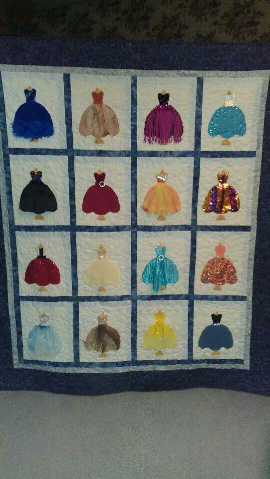 Quilt made from dance costumes.