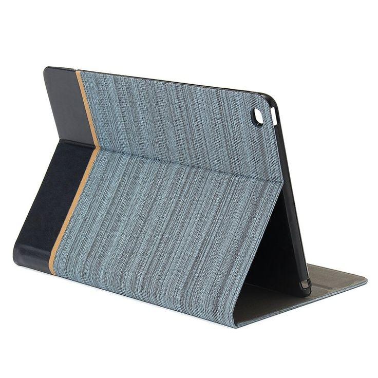 Business Canvas PU TPU Smart Flip Shockproof Kickstand Case For iPad Air 2…