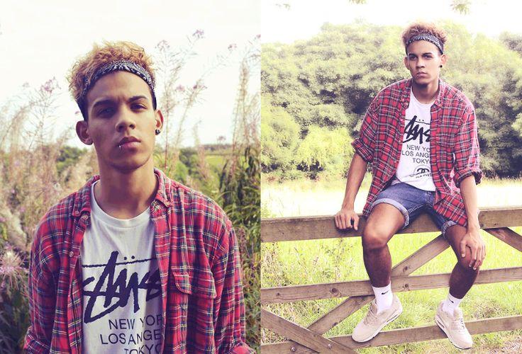 Sil Ahmed | LOOKBOOK  lookbook.nu Josh Peroti - Stüssy Stussy Tee, Topman Shorts, Vintage Tartan Shirt, Black Bandana