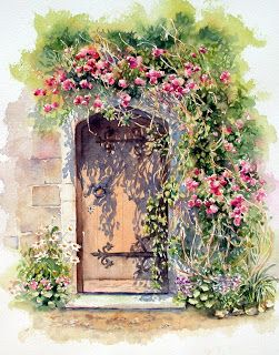 Ann Mortimer's Painting Blog - watercolour front door house art