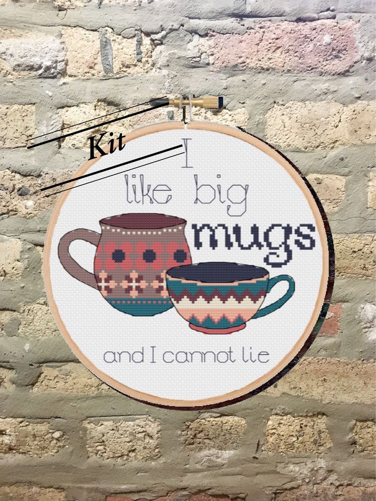 Kit: I Like Big Mugs Counted Cross Stitch Kit/Coffee Drinker/Modern/Kitchen Decor/Cups/Sassy/Incorrect Song Lyrics/DIY/Subversive/Cute by SassiStitchBoutique on Etsy https://www.etsy.com/listing/582193513/kit-i-like-big-mugs-counted-cross-stitch