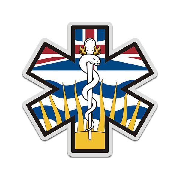 British Columbia Flag Star Of Life Bc Emt Paramedic Ems Sticker Decal In 2020 Emt Paramedic British Columbia Flag Paramedic