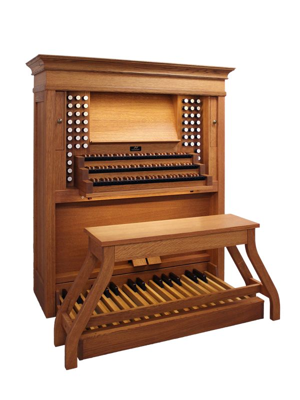 Virtual Pipe Organ Console With Pull Out Touch Screens And