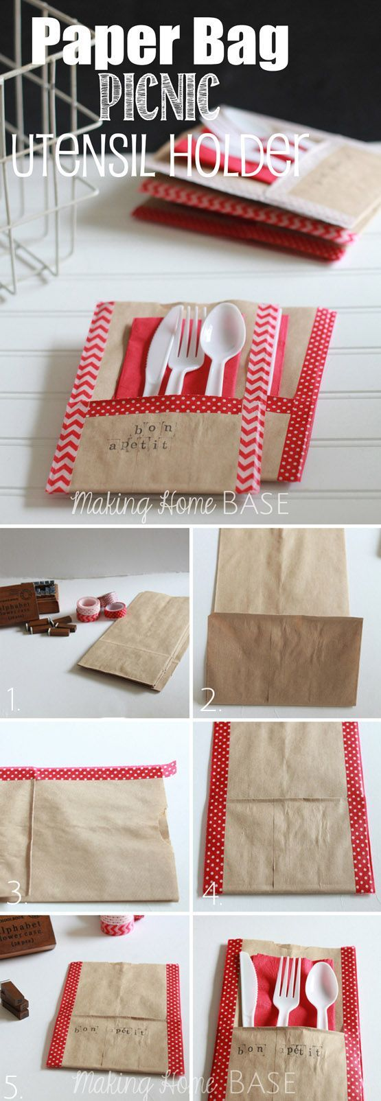 Paper bag picnic utensil holder DIY