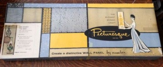 1960s Vintage Picturesque wall panel mosaic tile and glass kit by NUMBER PQS-11, by General Craft Corporation GENERAL CRAFTS CORP.