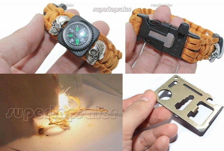 9'' Survival Paracord Bracelet w/ Flint Fire Starter Scraper Gear Kits compass #Unbranded