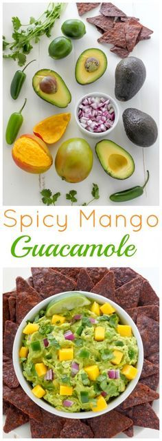 Spicy Mango Guacamole - this recipe is incredible! Easy, flavorful, and healthy, too.