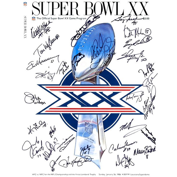 "1985 Chicago Bears Fanatics Authentic Autographed 16"" x 20"" Super Bowl XX Cover Photograph with 30 Signatures - $719.99"