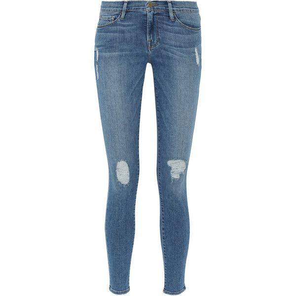 Frame Denim Le Skinny de Jeanne distressed mid-rise jeans found on Polyvore