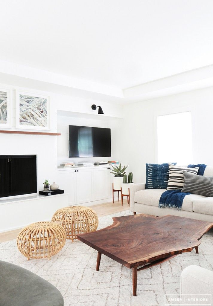 Contemporary eclectic design, white Interior, wood accents, patterned fabrics, upholstered seating
